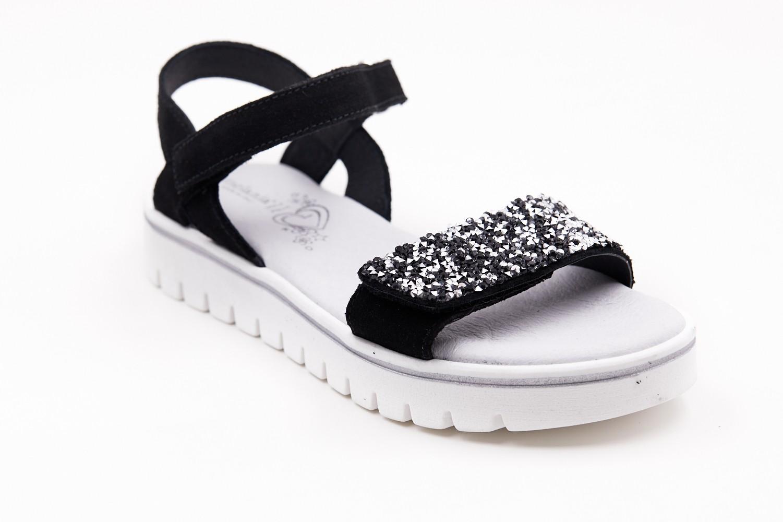 Sandale negre cu pietricele