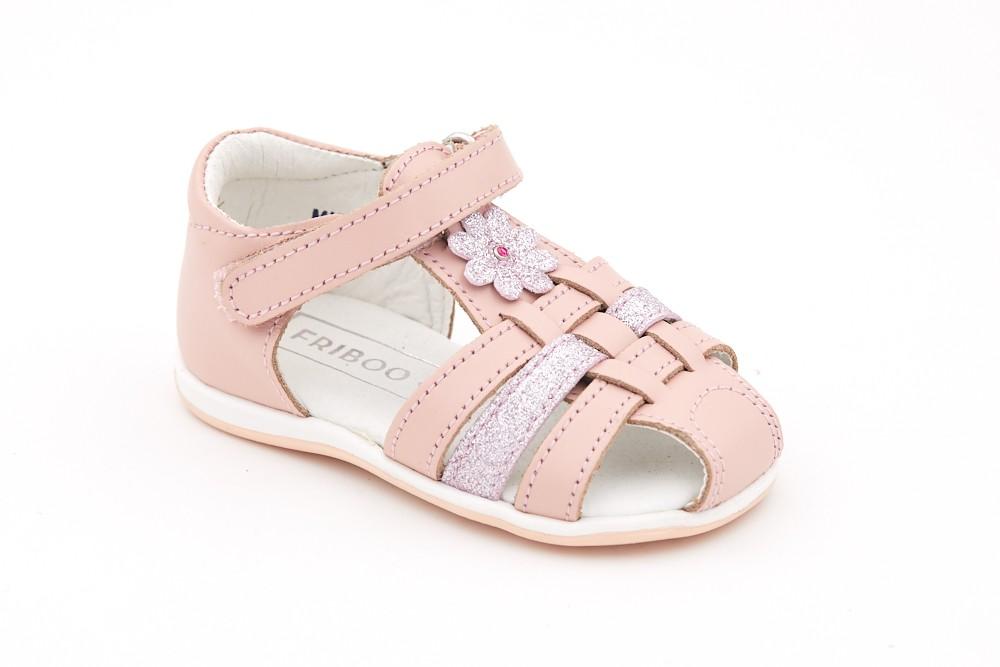 Sandale roz floare aplicata