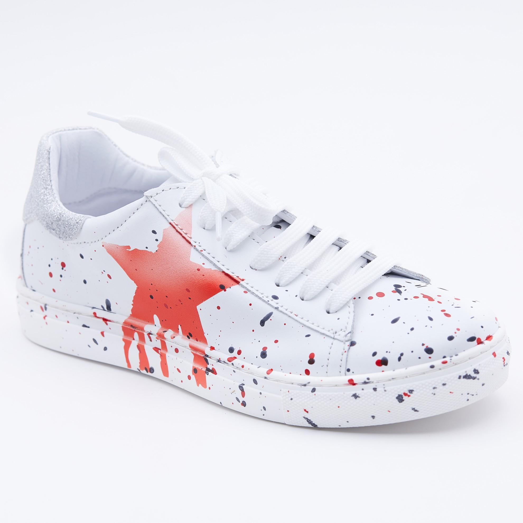Pantofi casual albi splash