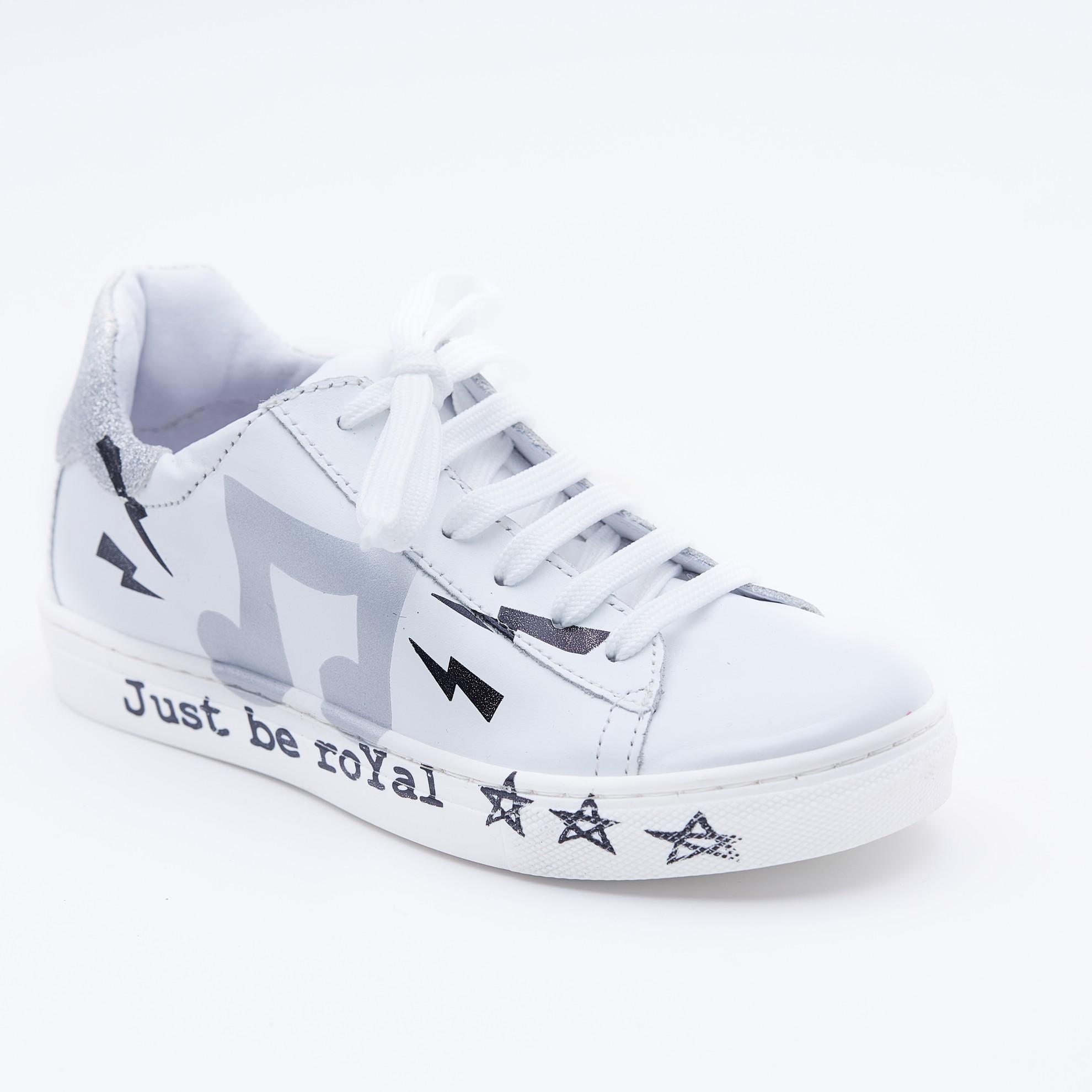 Pantofi casual albi talpa imprimeu