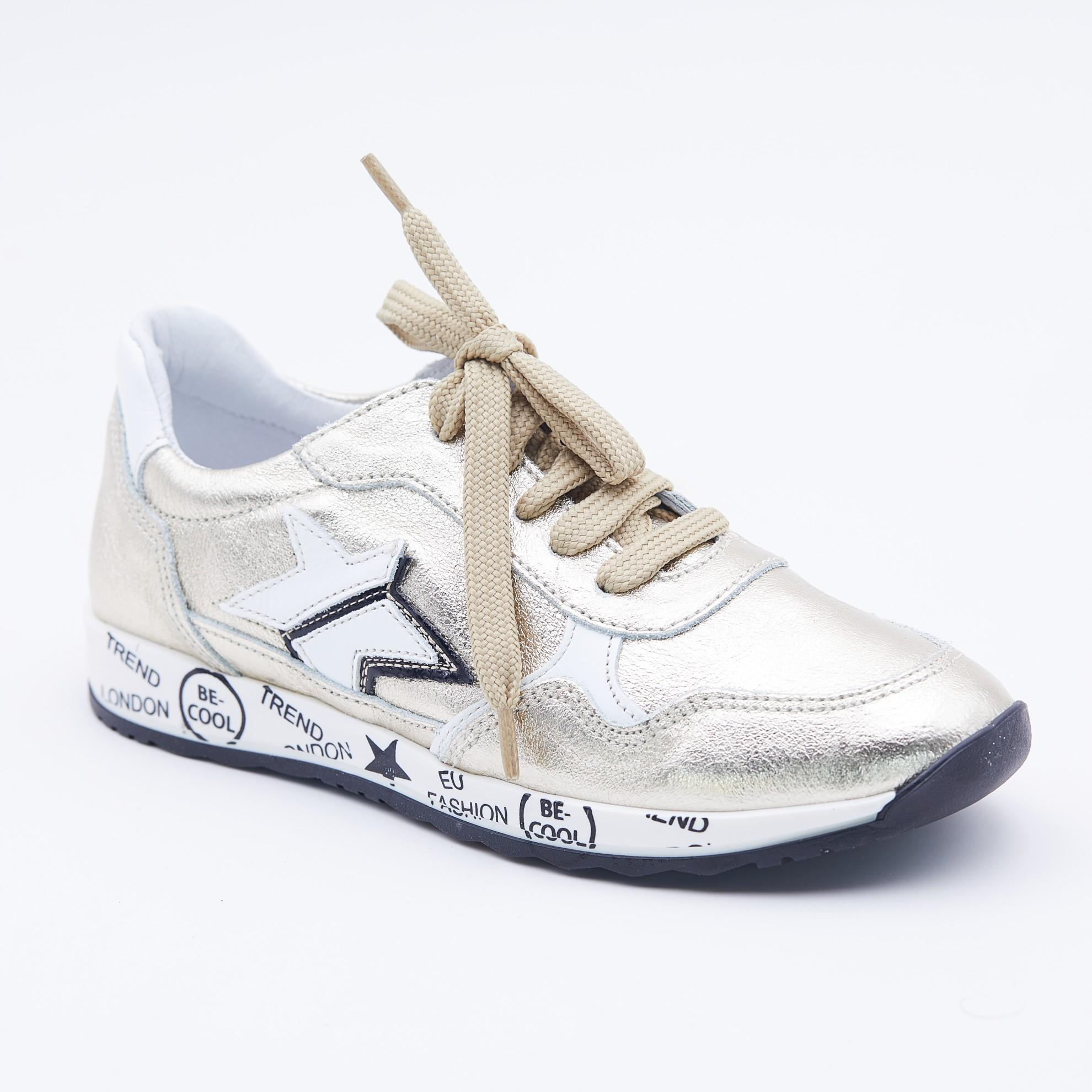 Pantofi sport aurii cu imprimeu