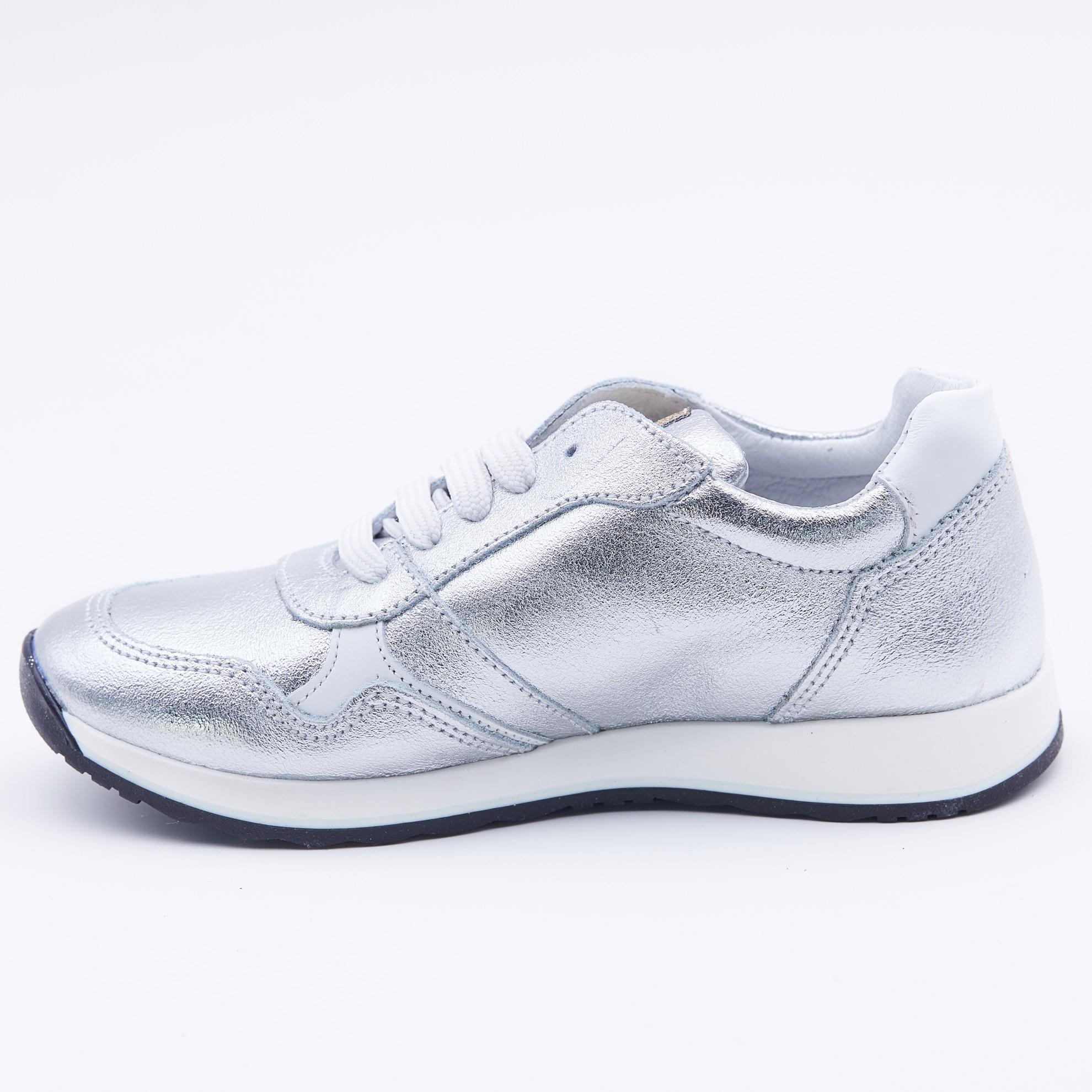 Pantofi sport argintii cu imprimeu