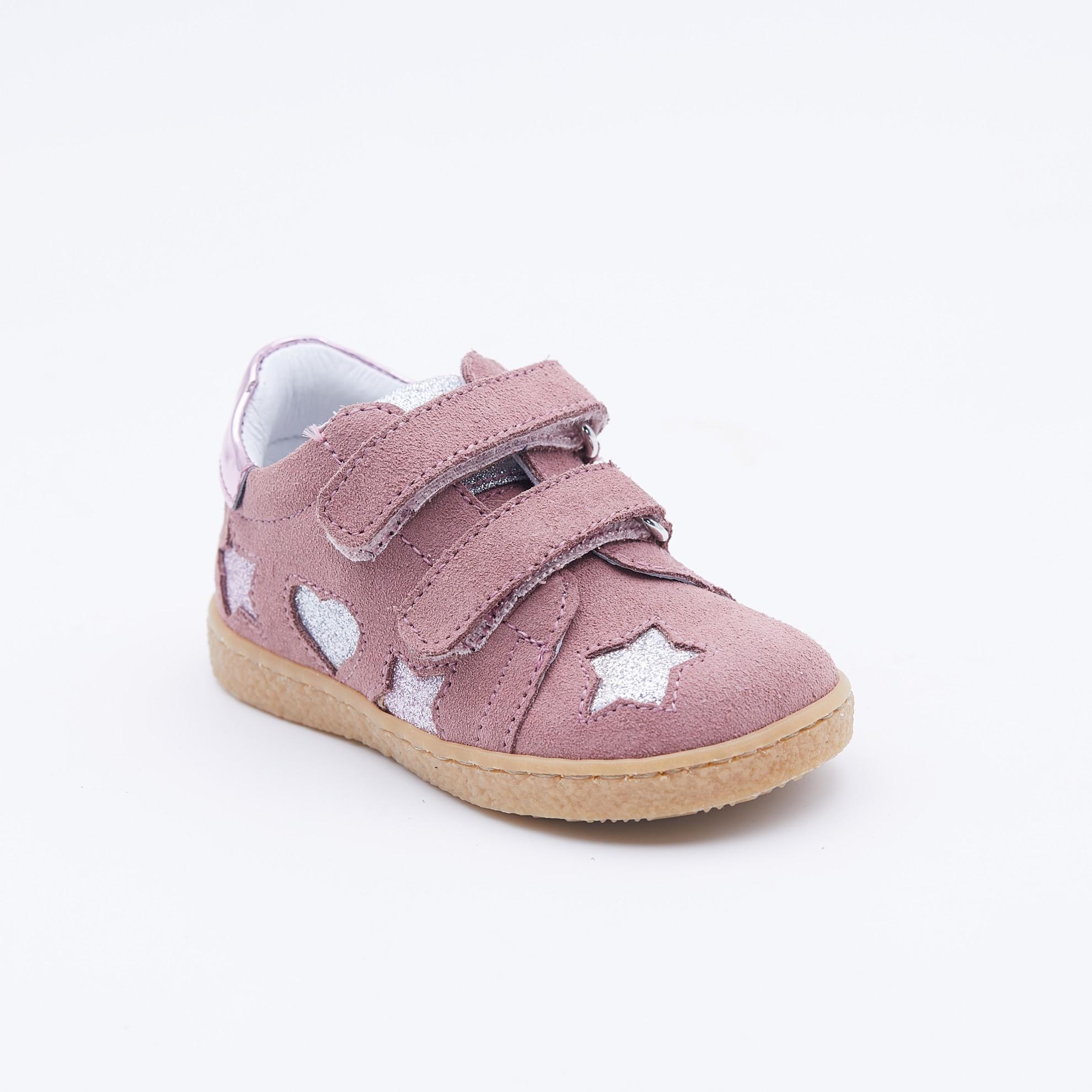 Pantofi roz inchis piele intoarsa