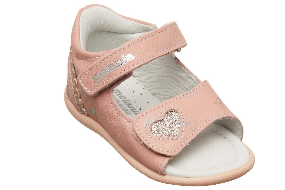Sandale roz pal cu inimioara