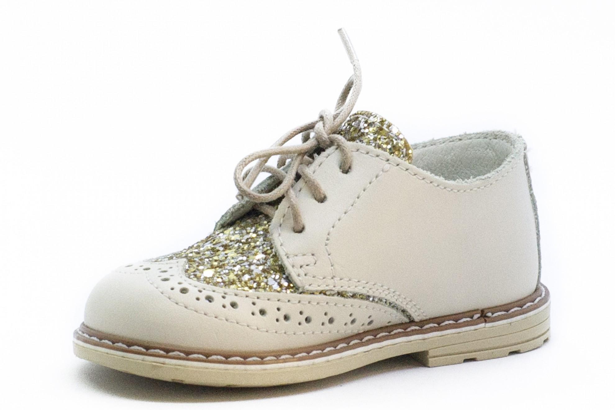 Pantofi crem Melania cu glitter auriu