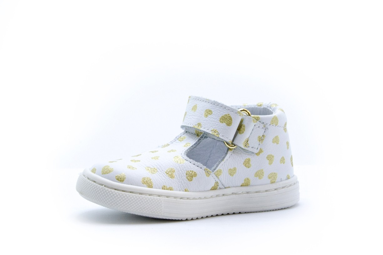 Pantofi decupati Melania albi cu inimioare aurii