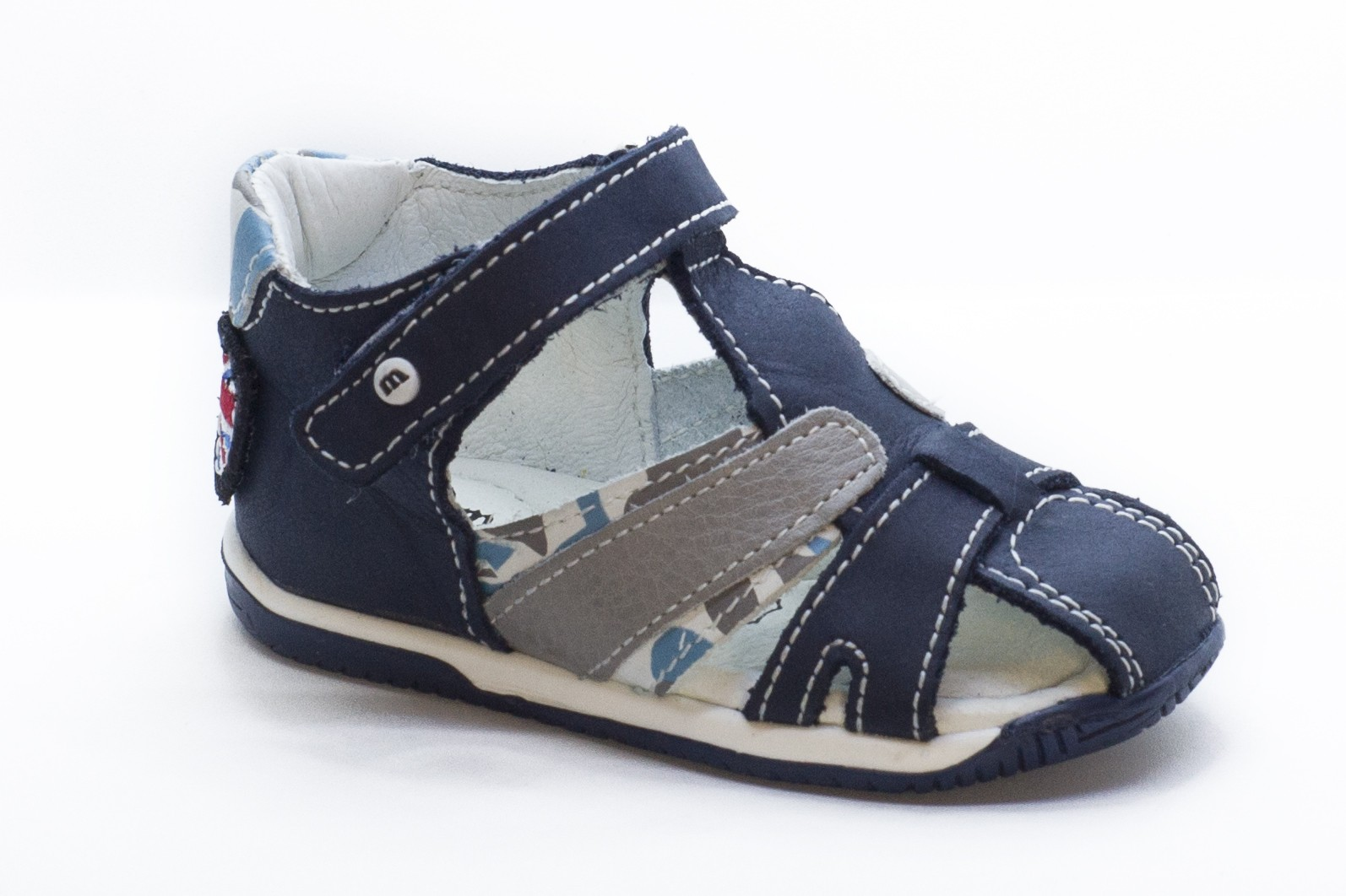 Sandale bleumarin/gri piele nabuc