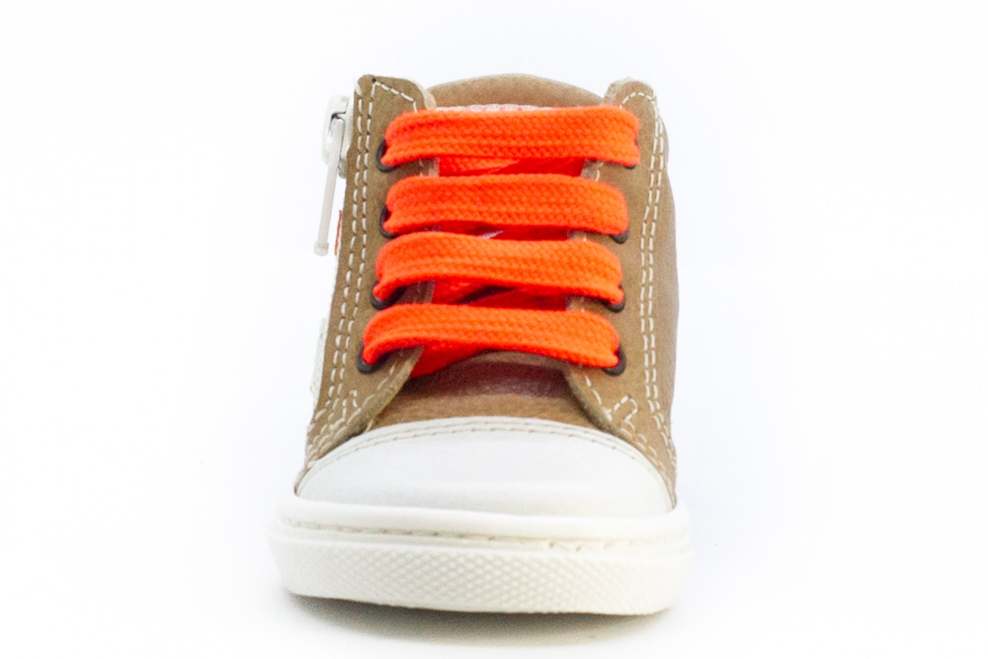 Bascheti bej/maro cu sireturi portocaliu neon
