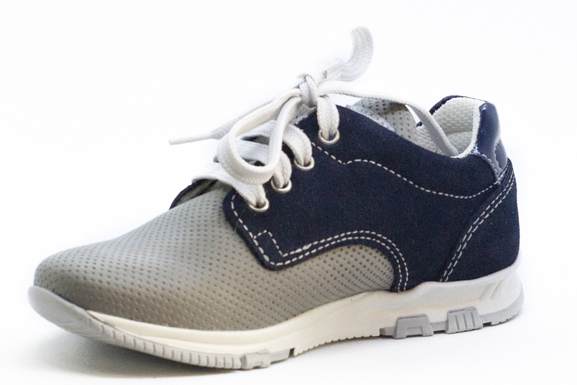 Pantofi sport Melania piele gri/blu cu siret